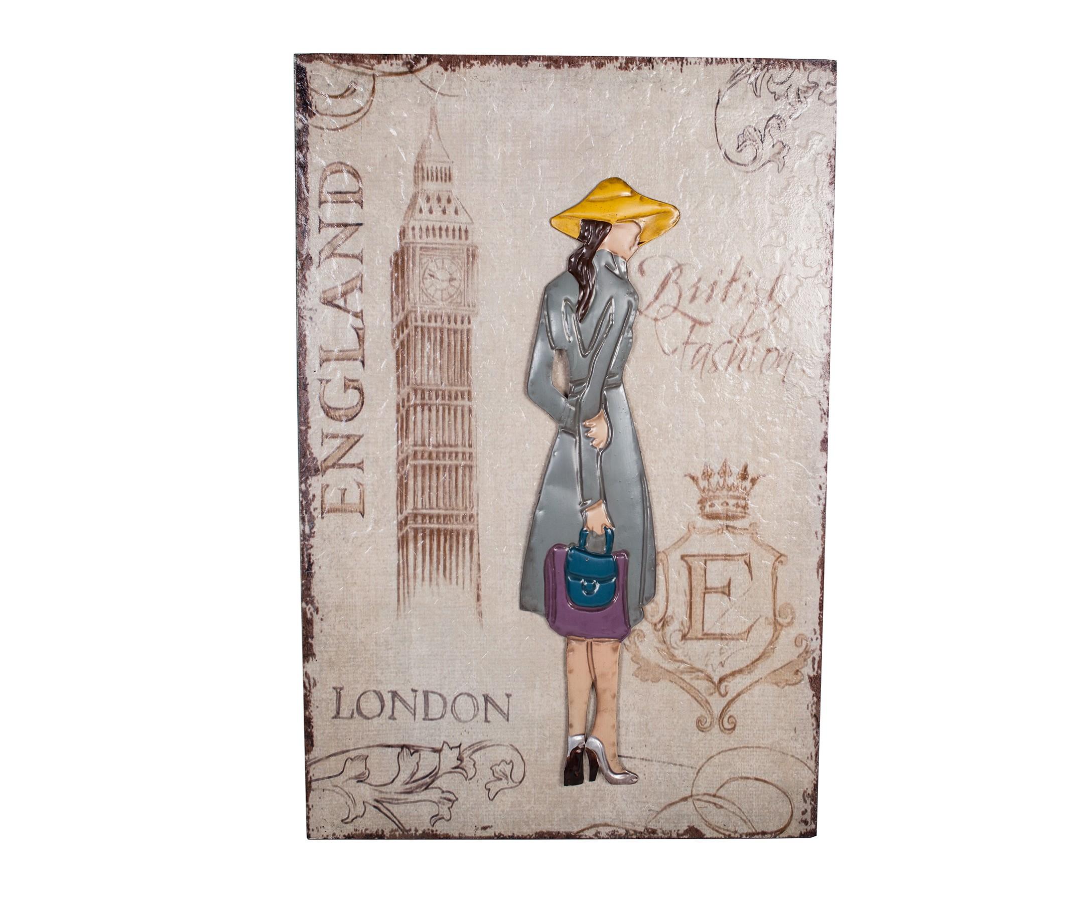Декоративное настенное панно London GirlПанно<br>Материал:&amp;amp;nbsp;МДФ, Ткань<br><br>Material: МДФ<br>Width см: 39<br>Depth см: 3<br>Height см: 60